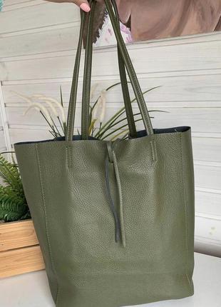 Сумка кожаная италия оливка зеленая хаки кожа шкіряна vera pelle новая шоппер італія вместительная а4