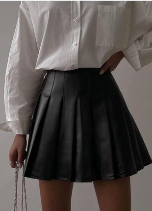 Кожаная юбка плиссе с шортиками 🌈