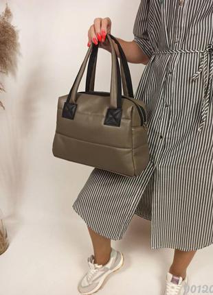 Сумка дута хакі жіноча, модная женская сумка дута стеганая хаки