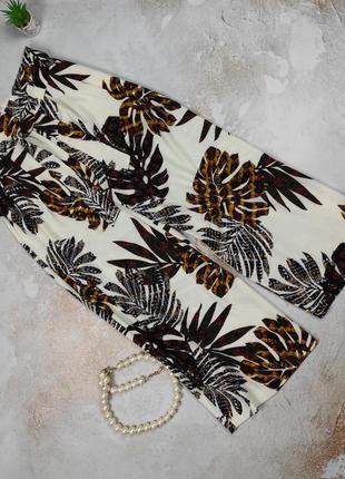Штаны брюки кюлоты в тропический принт плотные f&f uk 10/38/s