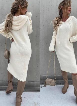 Вязаное тёплое платье трикотажное повседневное платье с длинным рукавом платье кольчуга