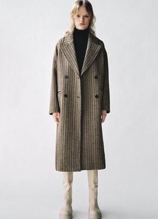 Шерстяное пальто в клетку от zara🖤