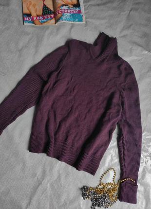 Шерстяной свитер темновиноградного цвета uk 24