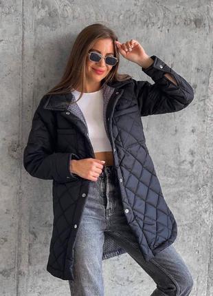 Чёрная стёганная куртка