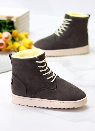 Модные женские зимние ботинки угги на шнуровке   к 11644