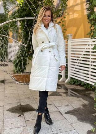 Стёганное пальто миди с поясом