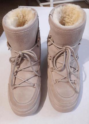 Замшевые угги moncler на шнурках, бежевые 35 22.5 см