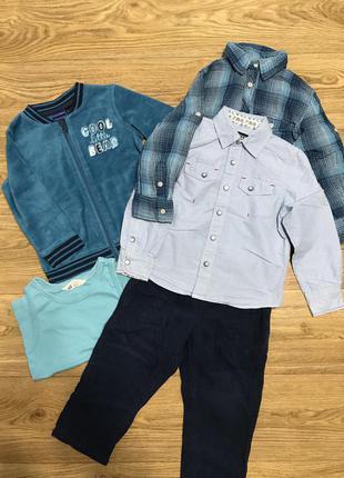Набор кофта бомбер рубашка штаны на мальчика 2-3 года