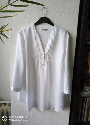 Льняная блуза большого размера m&s, р 18/52-54