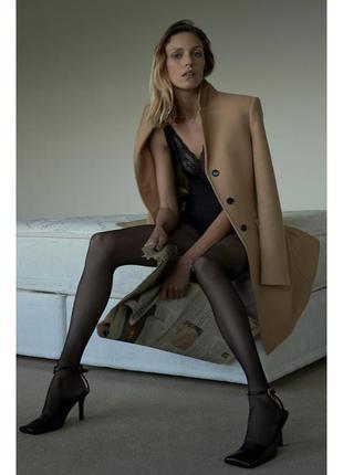Бежевое шерстяное пальто zara❤️