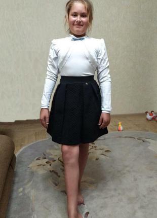 Стеганая теплая юбка smil украина 122, 128, 134 черная, синяя