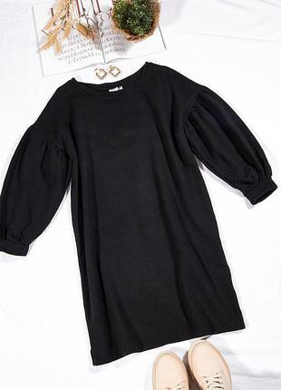 Черное платье-толстовка, длинная толстовка платье, теплое платье повседневное