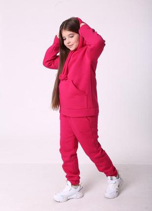 Теплый костюм на флисе для девочки от 98-170см