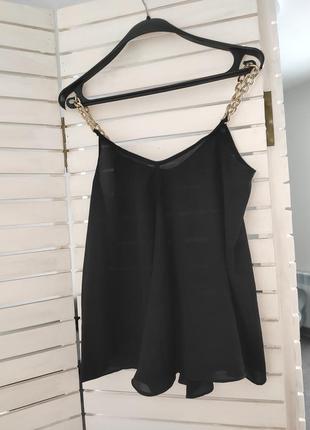 Майка блуза женская черная на бретелях цепь базовая 42 44 46