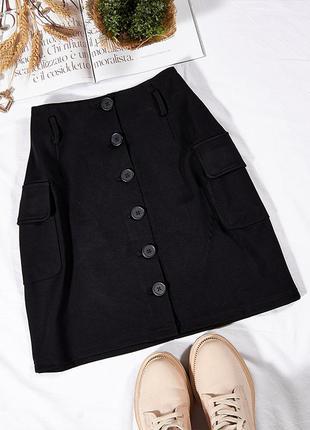 Черная юбка с пуговицами, классическая юбка короткая, офисная юбка трапеция, спідниця