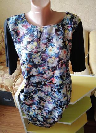 Туника платье в цветочный принт