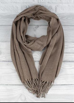 Демисезонный тонкий кашемировый шарф, палантин ozsoy 7180-27 капучино, турция