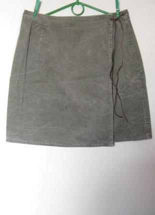Вельветовая юбка хаки с запахом nothing else