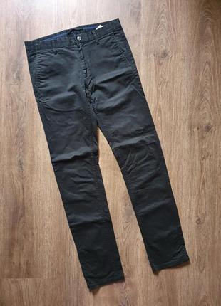 Чёрные котоновые брюки zara man размер 31, м