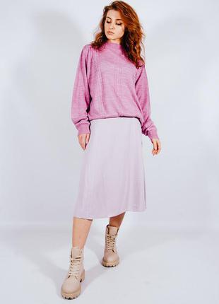 Стильная юбка миди, юбка трапеция миди, сиреневая юбка осенняя, спідниця міді