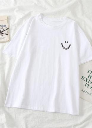 Распродажа футболочка футболка смайл белая оверсайз в ассортименте
