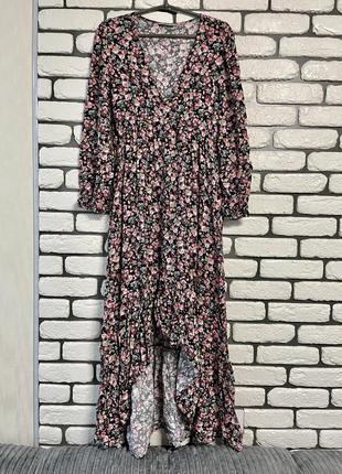 Натуральное цветочное платье миди stradivarius