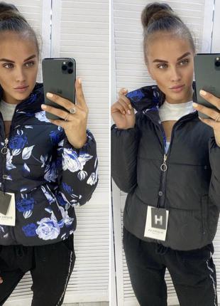 Жіночі куртки двохсторонні міжсезонний пуховик демі