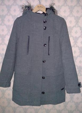 Женское серое демисезонное осеннее пальто на молнии clockhouse canda