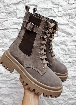 35-41 рр деми/зима высокие ботинки на платформе на шнурках натуральная замша