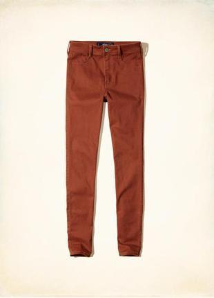 Фирменные джинсы, скинни hollister оригинал. цвет терракотовый.