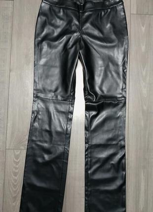 Штаны брюки кожзам черные под кожу