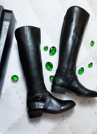 Inc international concepts кожаные черные сапоги на низком каблуке