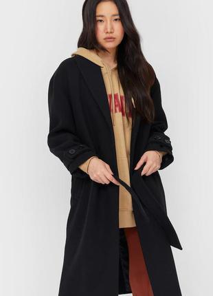 Пальто на подкладке базовый покрой зима осень миди