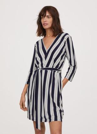 Платье в полоску с поясом и карманами h&m