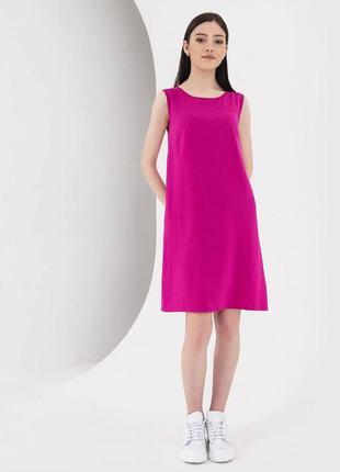Штапельное платье-майка vovk фуксия (xs) новое с биркой