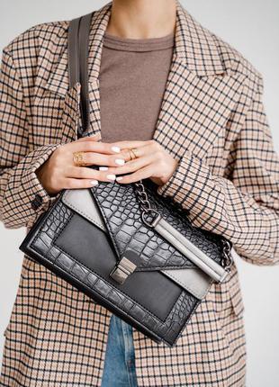 Черная сумка черный клатч с цепочкой черная кросс боди черная кроссбоди черный крокодил
