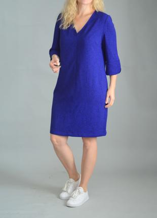 5385\100 яркое синее платье m&s xl