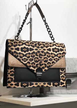 Леопардовая сумка леопардовый клатч с цепочкой кросс боди леопардовая кроссбоди