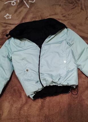 Куртка оверсайз двухсторонняя мятный/черный