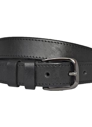 Ремень кожаный женский прошитый со строчкой черный под джинсы jane5