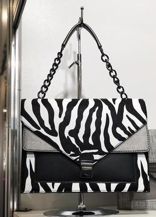Черно белая сумка зебра черно белый клатч с цепочкой кросс боди зебра кроссбоди