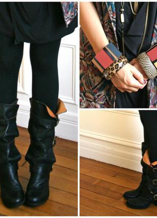 Шикарные итальянские кожаные сапоги ботинки на трех ремешках fiorentini+baker