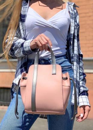 Пудровая сумка 2в1 сумка с косметичкой сумка мешок сумка среднего размера комплект сумок