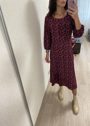 Платье миди оверсайз фуксия