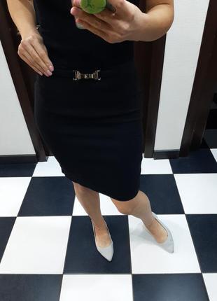 Waggon paris стильная юбка миди карандаш с баской