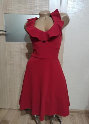 Акция 1+1=3🤑🤩прекрасное платье бордо винное под грудь с воланами юбка клёш