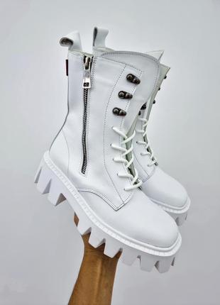 36-40 рр деми / зима высокие ботинки на платформе на шнурках натуральная кожа