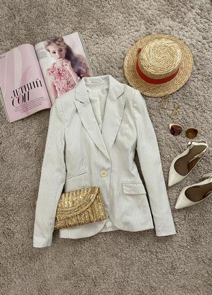 Распродажа!!! актуальный базовый белый пиджак в полоску №23