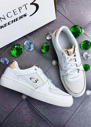 Skechers оригинал белые кожаные кроссовки с золотыми вставками