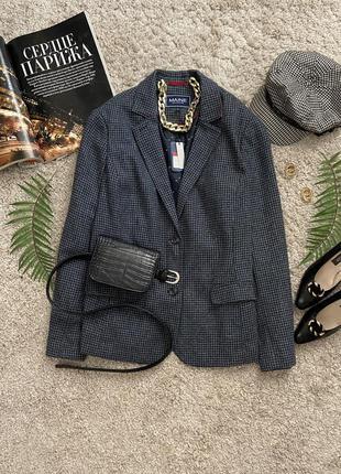 Актуальный теплый пиджак в клетку 30% шерсть №14